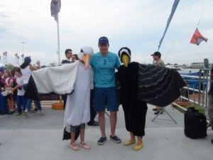 O velejador João Signorini, da equipe Telefónica, único brasileiro que compete na regata e integra a equipe da Telefónica