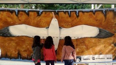 Crianças observando o Painel de Envergadura do Albatroz durante o evento Viva a Mata