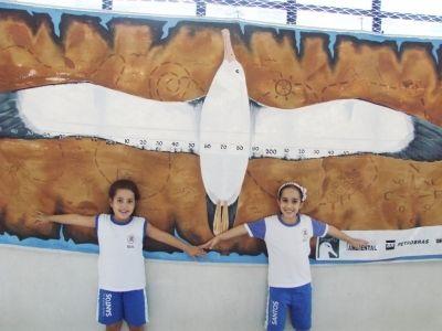 Alunos medindo o tamanho das asas do Albatroz