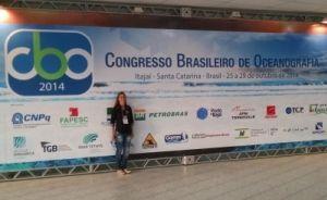 Iasmim Begnini, estagiária da Base Regional de Santa Catarina do Projeto Albatroz, durante o CBO 2014
